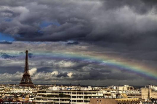 Double Rainbow Shines Above Eiffel
