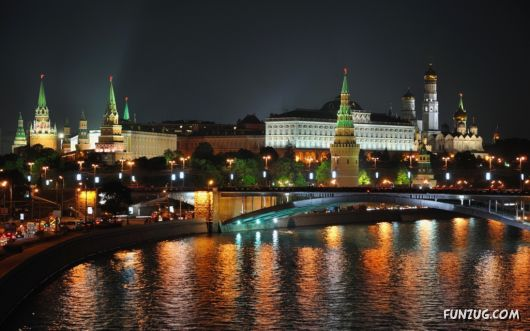 Beautiful Night Views of Moscow, Russia