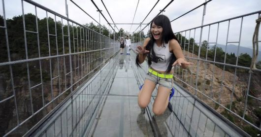 Glass-Bottomed Suspension Bridge In China